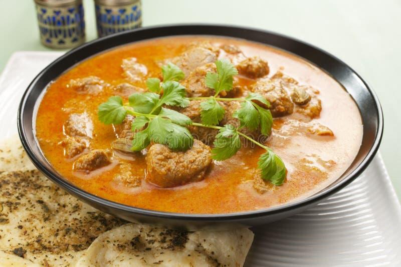 Indian Meal Food Curry Lamb Rogan Josh Naan Bread Stock Photos