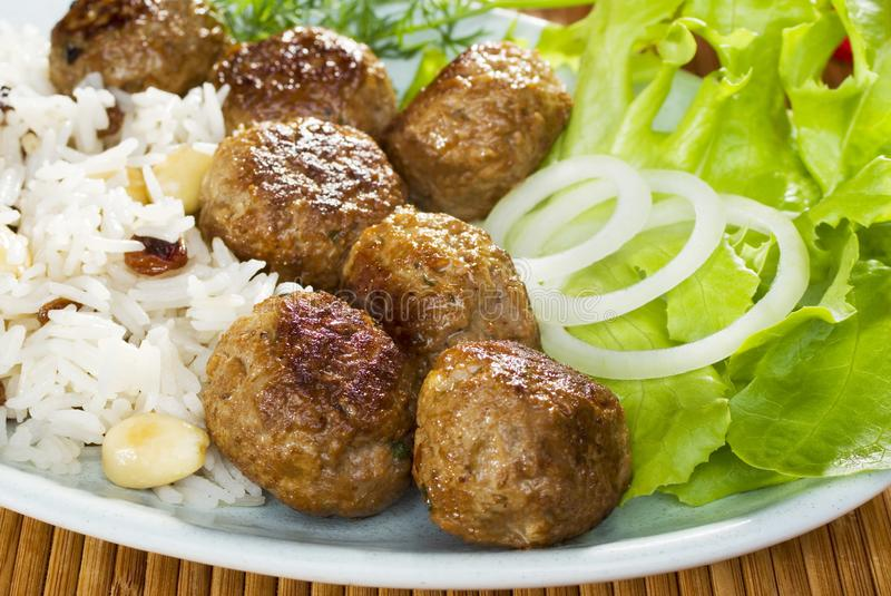 Indian Meal Meatballs and Rice royalty free stock photos