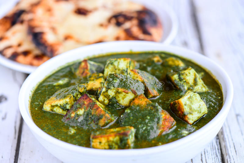 Indian meal-Palak paneer and tandoori roti stock photo
