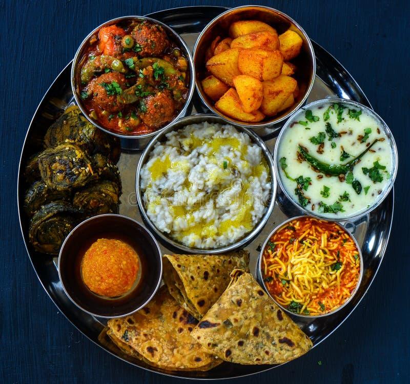 Traditional Indian meals -Gujarati vegetarian main course stock photo