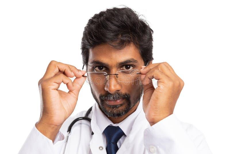 Indian medic wearing eyeglasses royalty free stock photo