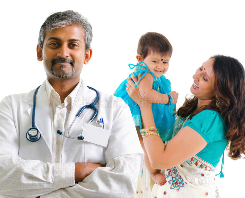 Indian medical doctor and patient family stock images