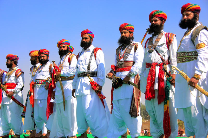 Indian men in traditional dress taking part in Mr Desert competition, Jaisalmer, India royalty free stock photography