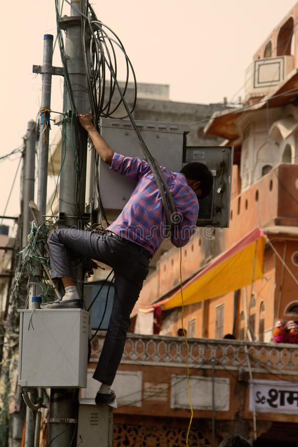 Indian miracle electrician, fabulous and life-threatening stock image