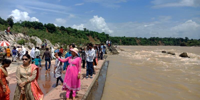 Indian modern woman taking selfies around river bank royalty free stock images