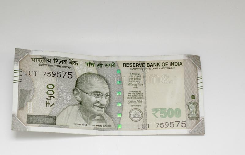 Indian Rupees five hundred. Indian money Rupees five hundred value currency on white backround stock photos