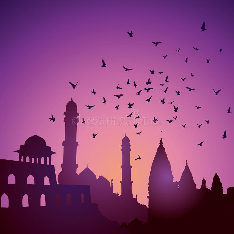 Indian monuments on sunset.  vector illustration