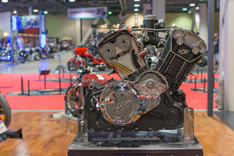 Indian motocycle engine. Long Beach, USA - November 20, 2015: Indian motocycle engine on display during Progressive International Motorcycle Show stock photos