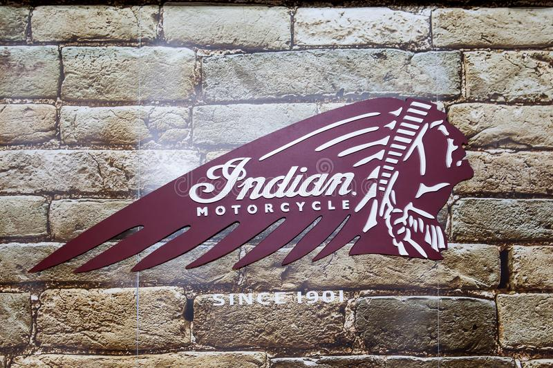 Indian Motorcycle sign and red logo. Indian Motorcycle sign and logo . Indian is an American brand of motorcycles originally produced from 1901 to 1953 in stock image