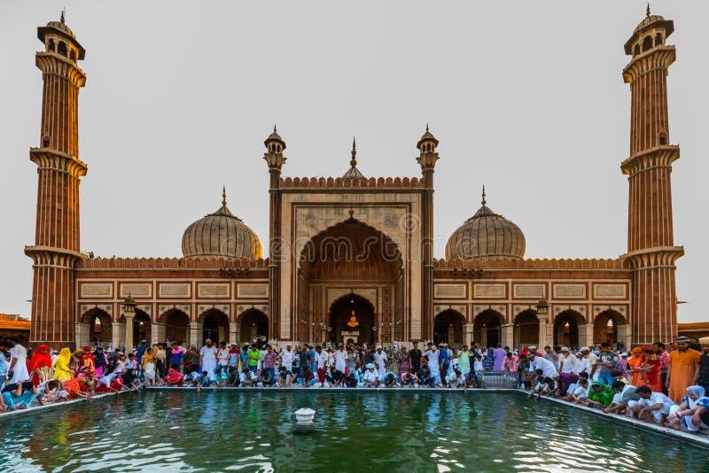 Indian Muslims celebrating at Jama Masjid stock photography
