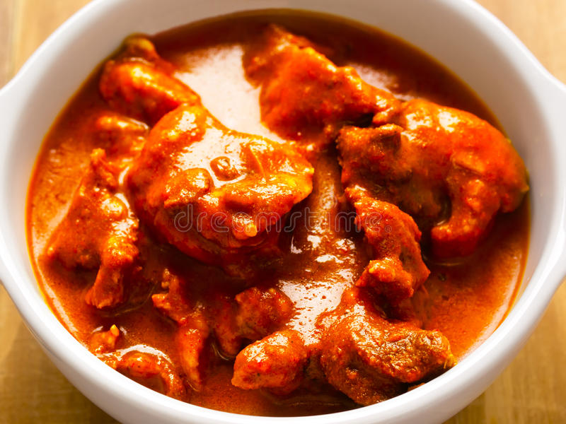 Indian mutton curry. Close up of a bowl of indian mutton curry royalty free stock photo