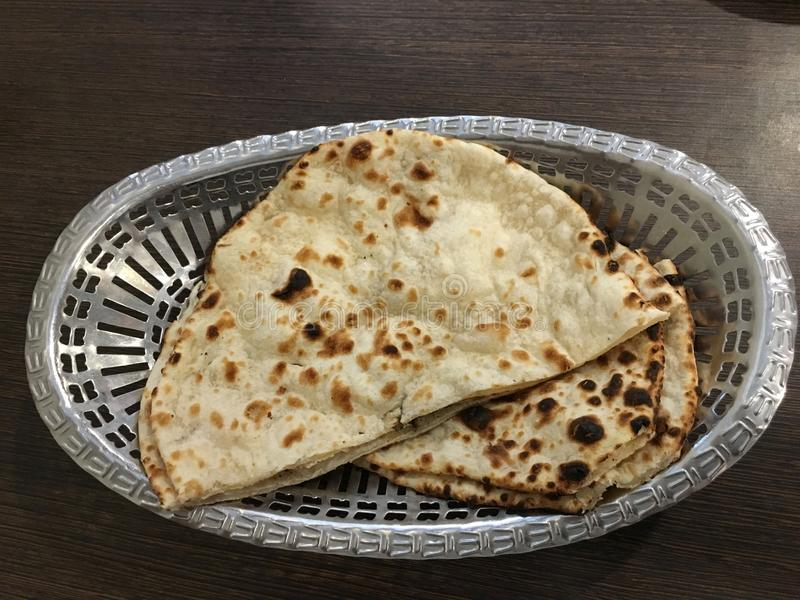 Indian naan bread basket royalty free stock photography