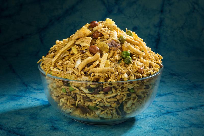 SPICEY MIXTURE NAMKEEN SNACKS FRIED royalty free stock image