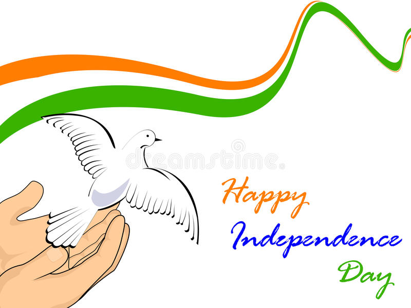Indian National flag with flying pigeons. stock illustration