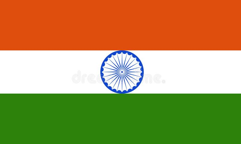 Indian National Flag Indian Tricolor with Ashok Chakra. Indian National Flag Indian Tricolor or Flag of India with all the three colors Orange White Green and vector illustration