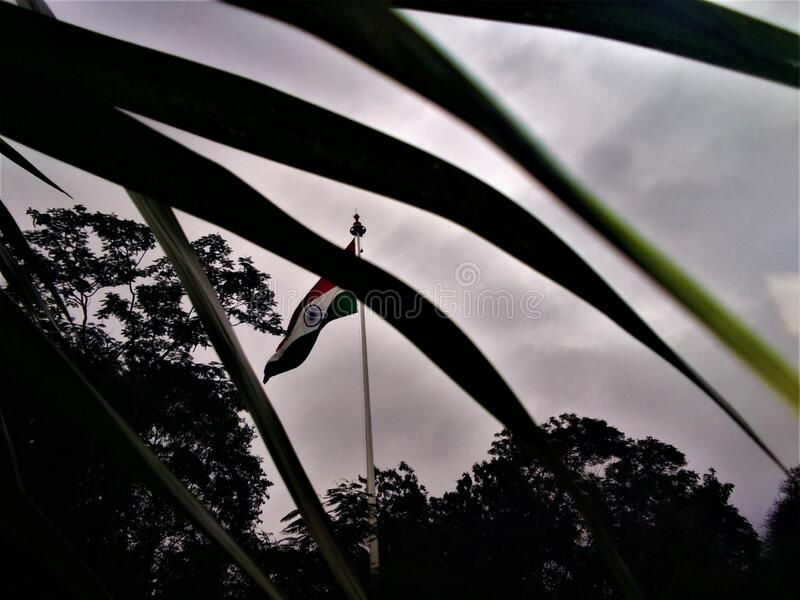 Indian national flag at top of sky royalty free stock photo