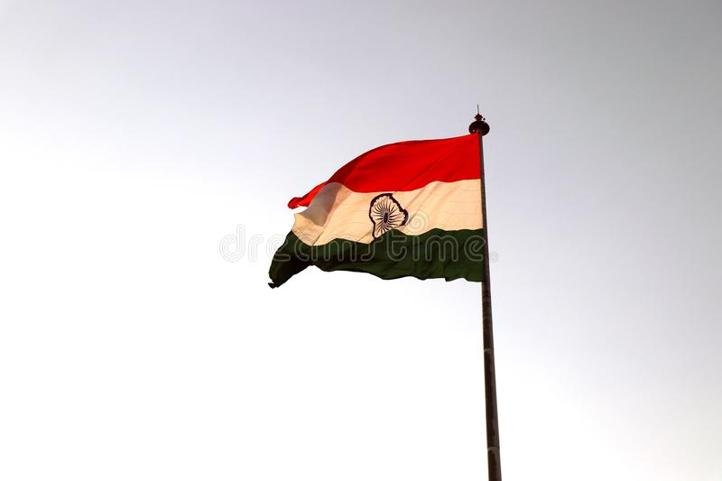 Indian national flag waving in the wind. stock image