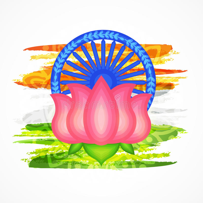 Download Indian National Flower Lotus For Republic Day Stock Illustration