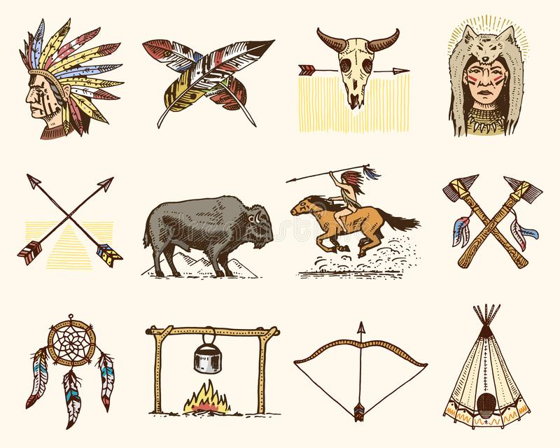 Indian Or Native American. Buffalo, Axes And Tent, Arrows And Bow, Skull, Dreamcatcher And ...