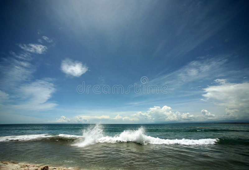 Indian ocean. The image of the winter Indian ocean and the sky with clouds stock photos