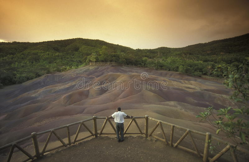 INDIAN OCEAN MAURITIUS CHAMAREL COLOURED EARTHS stock image