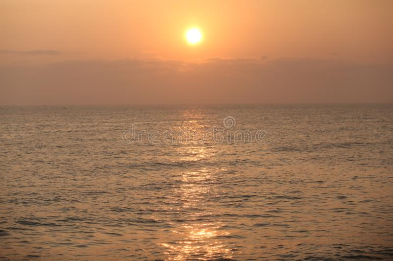 Sun rise on Indian Ocean royalty free stock photo