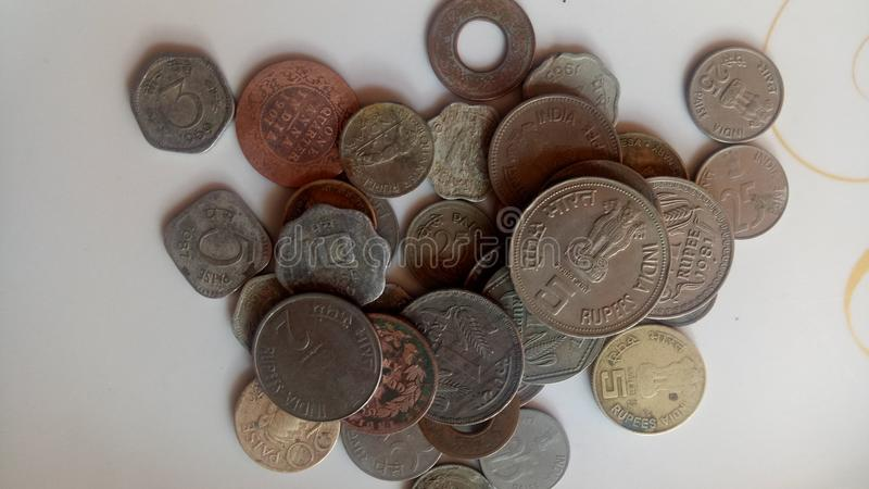 Indian old coins. stock photos