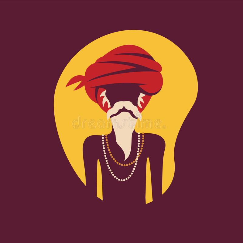 Indian old man in traditional clothes. Vector illustration. royalty free illustration