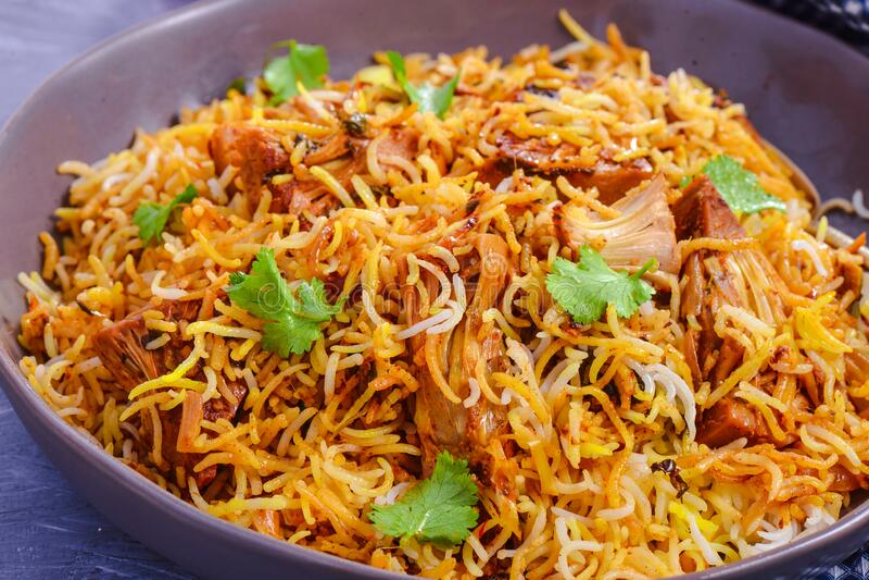Indian vegan meal- Jackfruit biryani stock photography