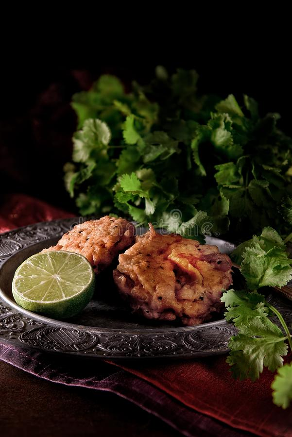 Indian Onion Bhajis stock image