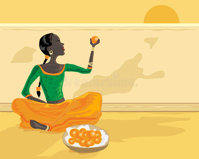 Indian orange seller. A hand drawn illustration of an indian woman selling oranges on a roadside under a setting sun royalty free illustration