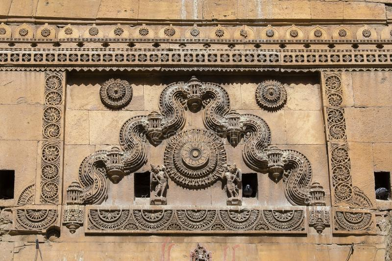 Indian ornament on wall of palace in Jaisalmer fort, India. Close up stock images