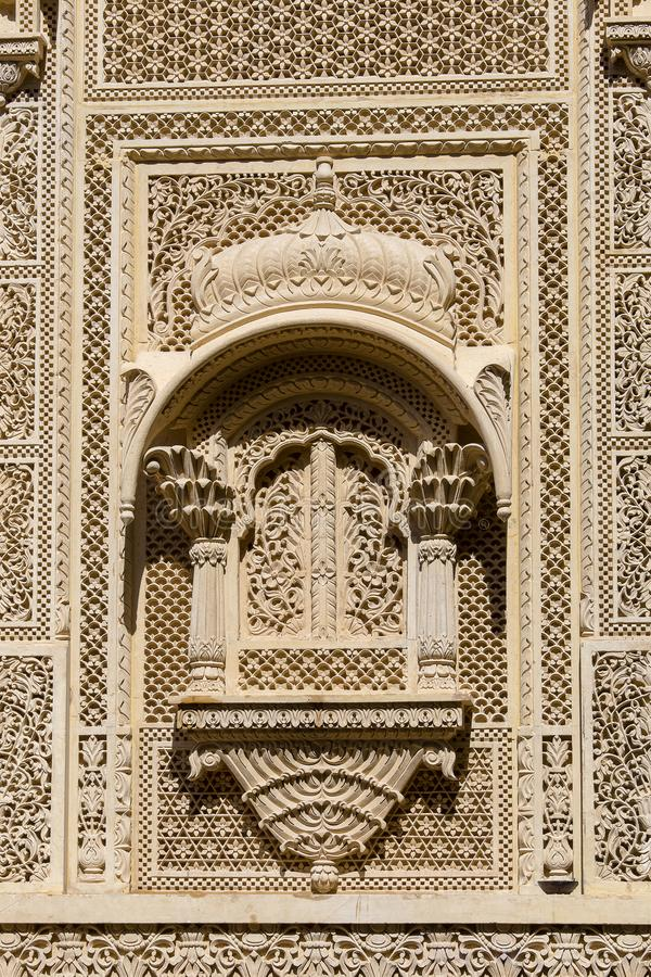 Indian ornament on wall of palace in Jaisalmer fort, India. Close up stock photo