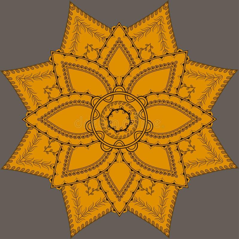 Indian ornate mandala. Doily round lace pattern, circle background with many details, royalty free illustration