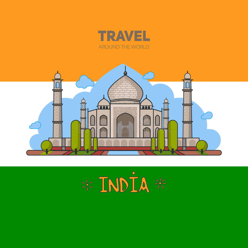 Indian palace on the background of the flag royalty free illustration