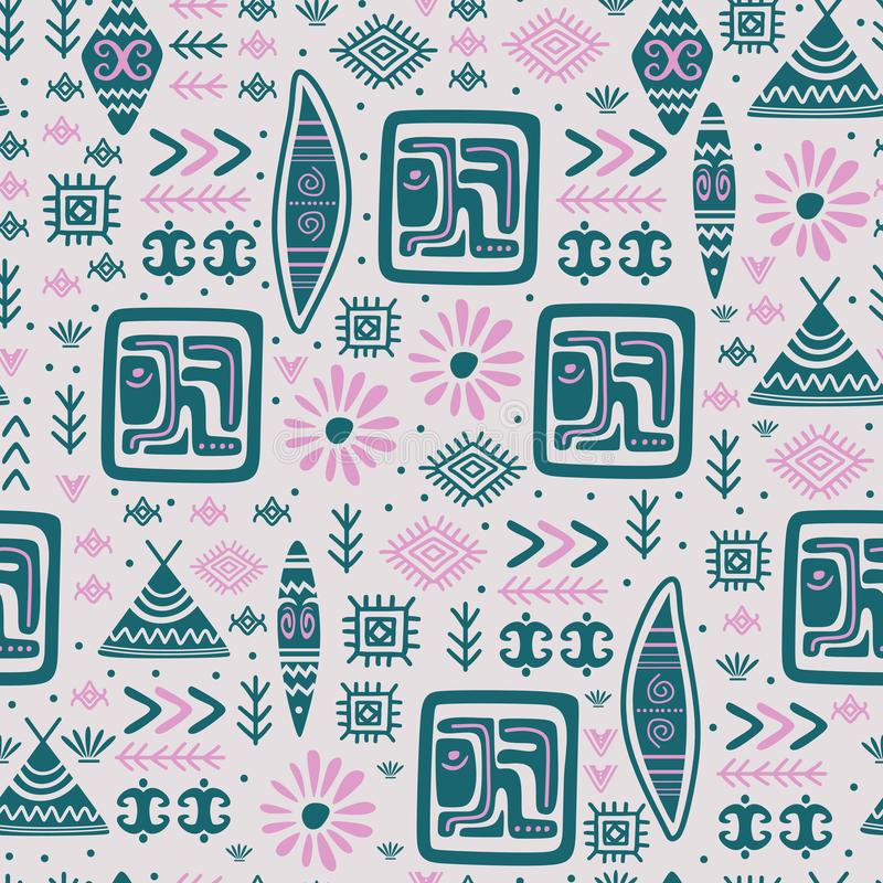 Indian pattern tribal hand drawn ancient symbol background. Vector, african, line, ethnic, print, mexico, aztec, maya, illustration, seamless, texture, navajo royalty free stock photos
