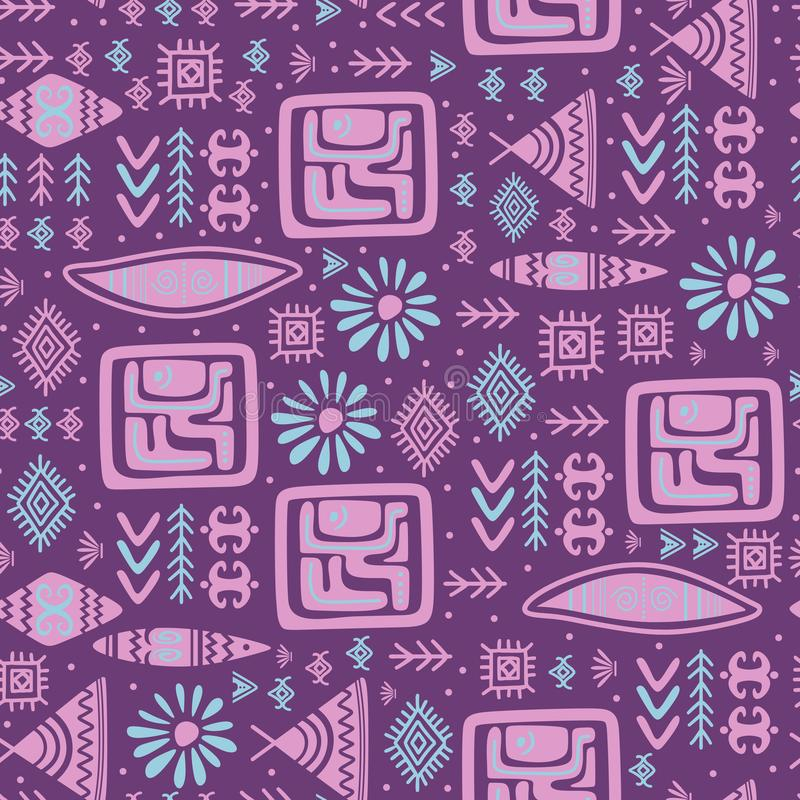 Indian pattern tribal hand drawn ancient symbol background. Vector, african, line, ethnic, print, mexico, aztec, maya, illustration, seamless, texture, navajo royalty free stock photography