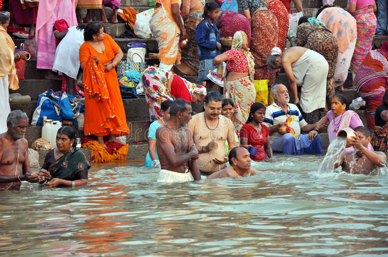 Indian People in Holy Varanasi stock image