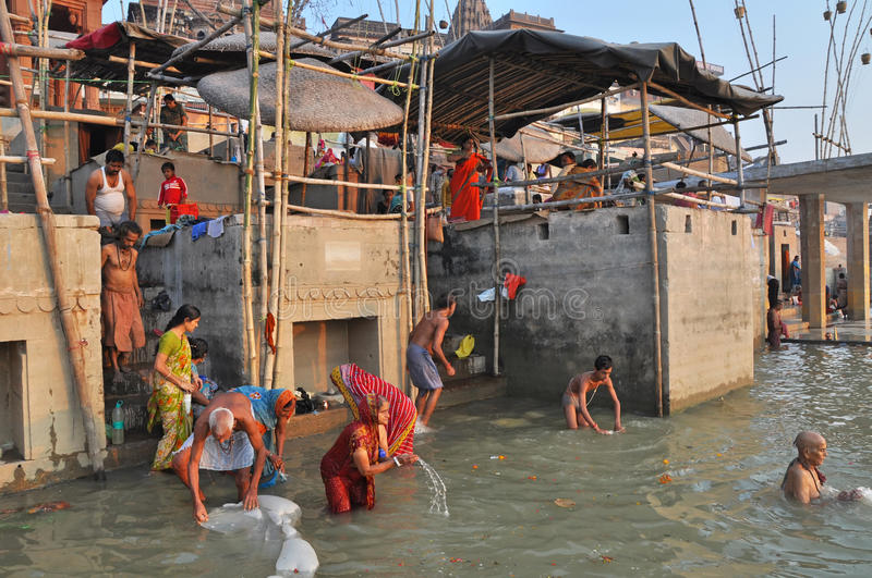 Indian People in Holy Varanasi stock images
