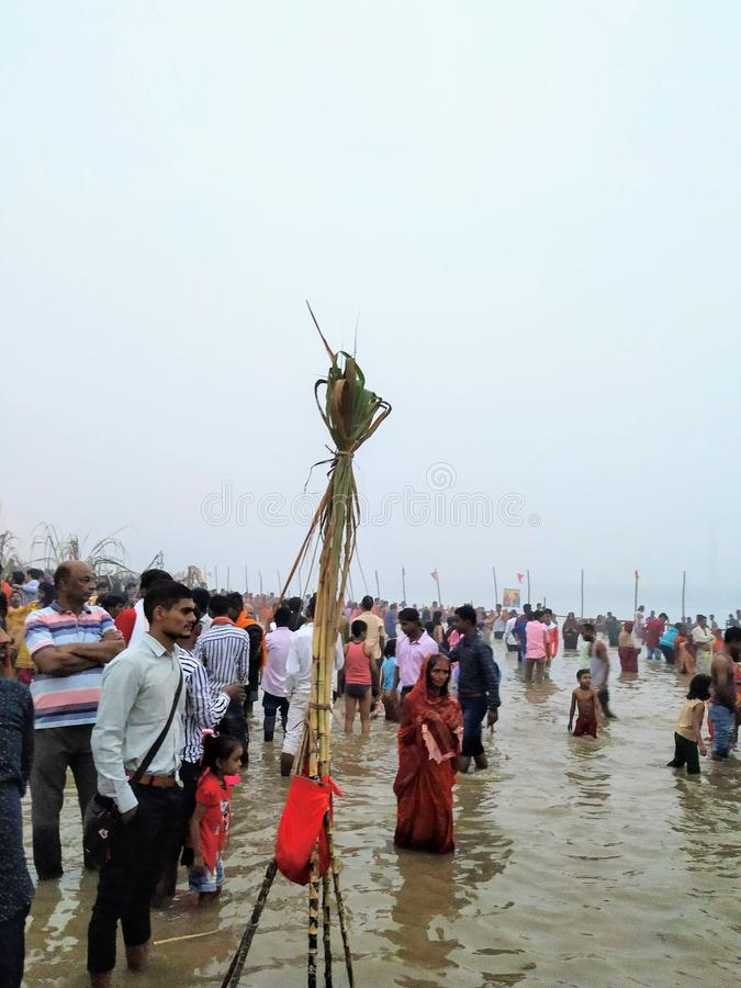Indian people performing Chhath Pooja in Patna Bihar at Ganga Ghat stock images