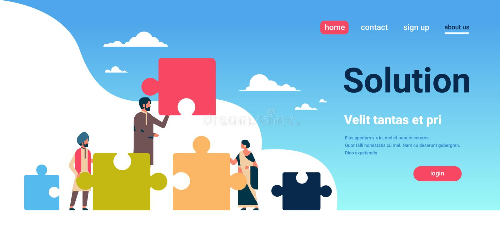 Indian people putting parts of puzzle problems solution concept indian man woman teamwork strategy horizontal flat copy. Space vector illustration royalty free illustration