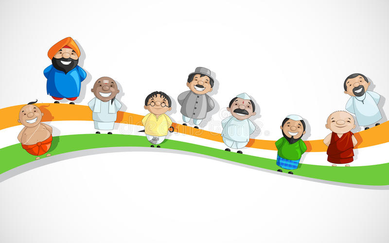 Indian People on Tricolor Dlag vector illustration
