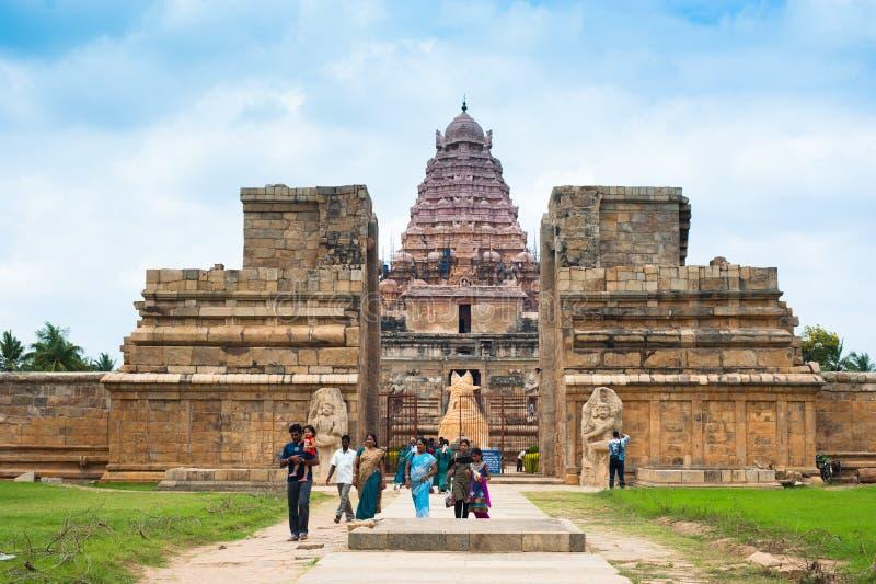 Indian people visiting Gangaikonda Cholapuram Temple. India, Tamil Nadu, Thanjavur. THANJAVUR, INDIA - FEBR 13: Indian people and ourists visiting Gangaikonda stock image