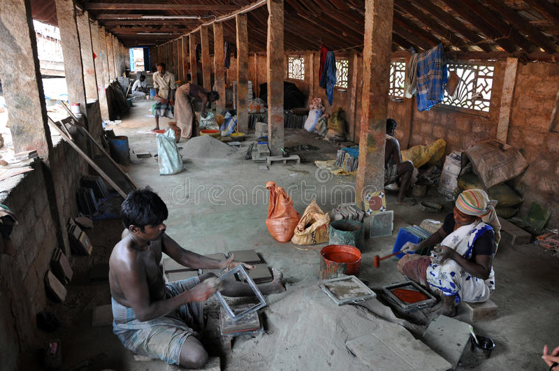 Indian People Work in the Tile Factory stock image