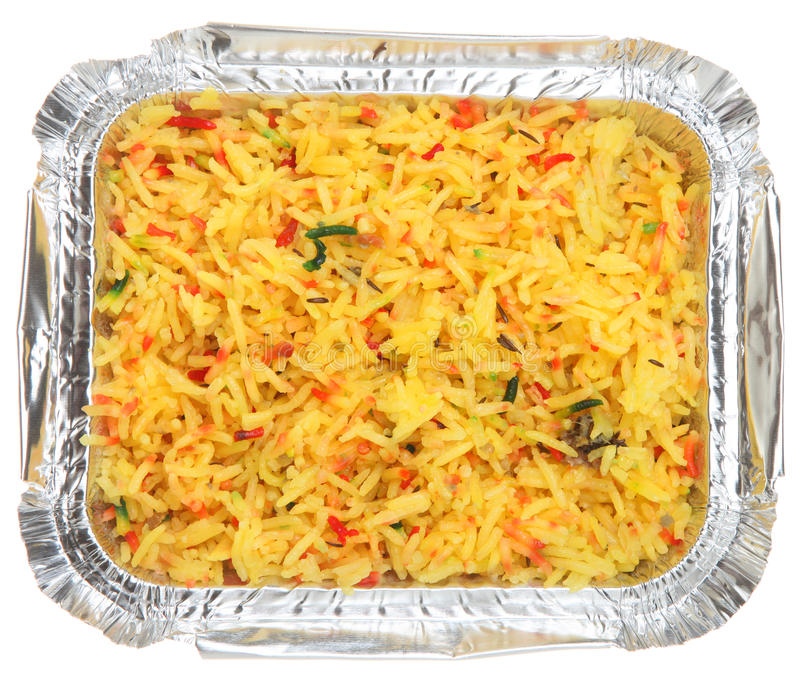 Download Indian Pilau Rice Takeaway stock photo. Image of foil - 18160928
