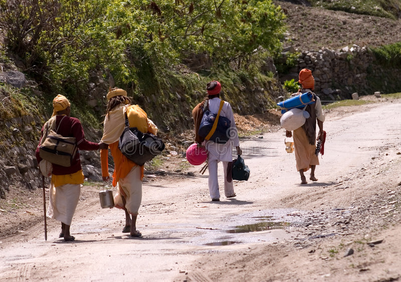 Indian pilgrims. Pilgrims to source of Ganga river in the North of India royalty free stock photo
