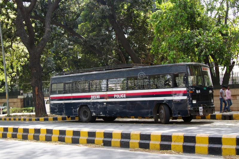 Indian police bus. India, new Delhi - March 26, 2018: police bus stock images