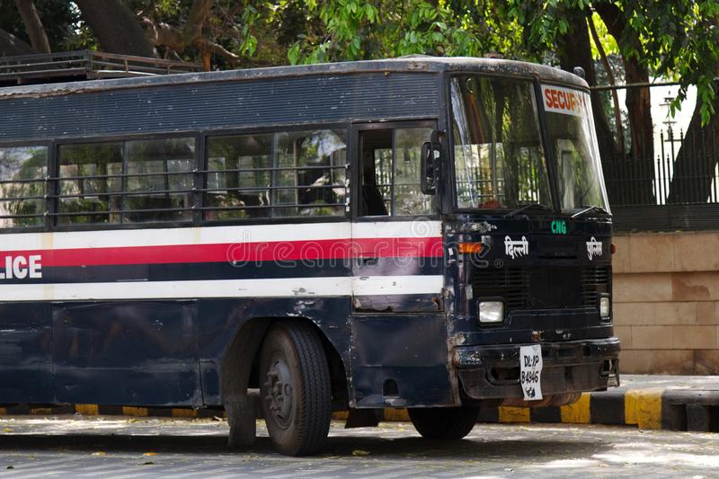 Indian police bus. India, new Delhi - March 26, 2018: police bus royalty free stock photos
