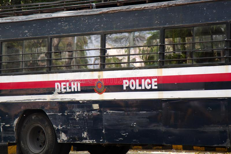 Indian police bus. India, new Delhi - March 26, 2018: police bus stock photo