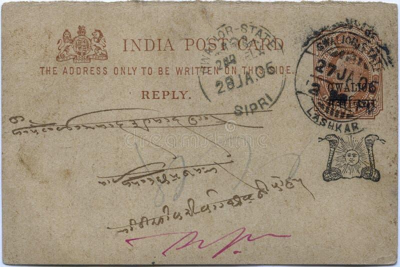 Vintage British raj 1906 Indian post card way of communication for public. Kalyan Maharashtra India stock image